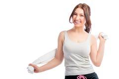 Atleta castana con un asciugamano Immagine Stock