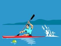 Atleta che rema su un kajak illustrazione di stock