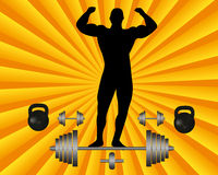 Atleta con un bilanciere ed i pesi della testa di legno Immagine Stock