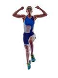 Atleta corrente del corridore di ironman di triathlon della donna immagine stock libera da diritti