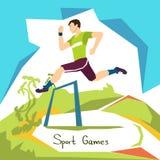 Atleta corriente Sport Competition de la carrera de vallas Imagen de archivo libre de regalías