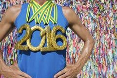 Atleta 2016 da medalha de ouro Brazilian Wish Ribbons imagem de stock