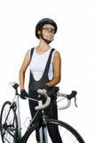 Atleta de ciclo de sexo femenino caucásico joven sonriente en c profesional Foto de archivo