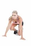 Atleta de sexo femenino en la línea del comienzo Fotografía de archivo