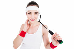Atleta de sexo femenino que juega a bádminton Imágenes de archivo libres de regalías