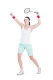 Atleta de sexo femenino que juega a bádminton Fotos de archivo libres de regalías