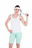 Atleta de sexo femenino que juega a tenis Imágenes de archivo libres de regalías