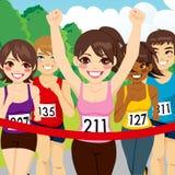Atleta de sexo femenino Runner Winning Fotografía de archivo libre de regalías