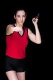 Atleta de sexo femenino Throwing una jabalina Fotografía de archivo