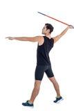 Atleta de sexo masculino que se prepara para lanzar la jabalina Imágenes de archivo libres de regalías