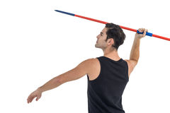 Atleta de sexo masculino que se prepara para lanzar la jabalina Imagen de archivo