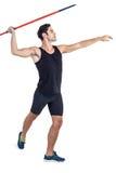 Atleta de sexo masculino que se prepara para lanzar la jabalina Fotos de archivo