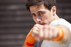 Atleta del boxeo de retroceso Fotos de archivo libres de regalías