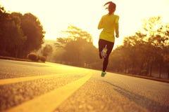 Atleta del corredor de la mujer de la aptitud que corre en el camino de la salida del sol Imagen de archivo libre de regalías