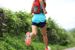 Atleta del corredor del rastro que corre en rastro del bosque Imagen de archivo