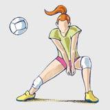 Atleta del jugador de voleibol, dibujo de la mano libre illustration