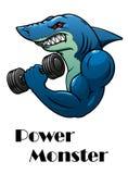 Atleta del tiburón con pesas de gimnasia Foto de archivo