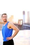 Atleta di sport che sembra riposante in New York Fotografie Stock