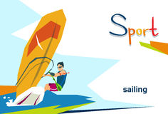 Atleta disabile Sailing Sport Competition illustrazione vettoriale