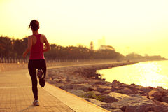 Atleta do corredor que corre no beira-mar Foto de Stock Royalty Free