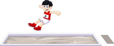 Atleta do menino dos desenhos animados que faz o salto longo na competição Fotografia de Stock