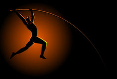 Atleta do salto com vara ilustração royalty free