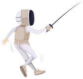 Atleta em cercar o equipamento com espada ilustração do vetor