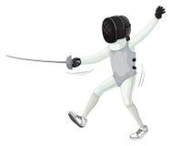 Atleta em cercar o uniforme com espada ilustração stock