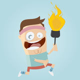 Atleta engraçado dos desenhos animados com tocha Imagens de Stock Royalty Free