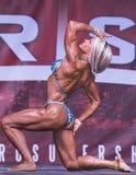 Atleta fêmea Curvy, Muscled Poses do físico em Toronto 2018 pro Supershow Imagem de Stock
