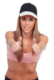 Atleta fêmea positivo pronto para esportes Fotos de Stock Royalty Free