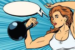 Atleta fuerte de la mujer con los pesos stock de ilustración