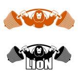 Atleta fuerte enojado de leo Barbell y león grande agresivo de la bestia stock de ilustración