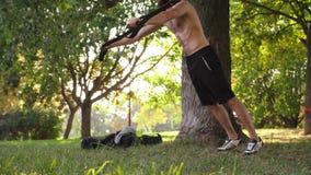 Atleta joven barbudo que hace pectorales en lazos de la aptitud cerca de un árbol en el parque cantidad lenta de 4K MES almacen de video