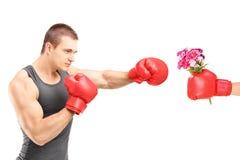 Atleta maschio con i guantoni da pugile che colpiscono una mano con il guantone da pugile fotografia stock