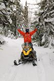 Atleta na snowmobile zdjęcia royalty free