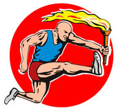 Atleta olímpico com tocha ilustração royalty free