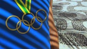 Atleta olímpico Standing Ipanema Beach de la medalla de oro de los anillos metrajes