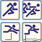 Atleta Pictogram Icon Track - campo di sport Fotografie Stock Libere da Diritti