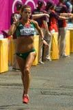 Atleta português Ana Dulce Felix que refrigera fora Imagem de Stock