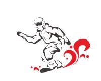 Atleta profesional apasionado Logo del embarque de la nieve de los deportes de invierno Imagen de archivo libre de regalías
