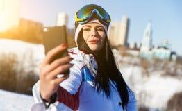 Atleta que hace el selfie el invierno Fotografía de archivo