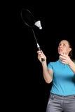 Atleta que juega a bádminton Foto de archivo