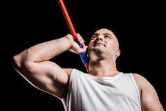 Atleta que se prepara para lanzar la jabalina Fotos de archivo
