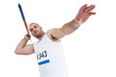 Atleta que se prepara para lanzar la jabalina Fotografía de archivo