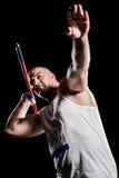 Atleta que se prepara para lanzar la jabalina Foto de archivo