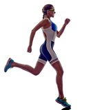 Atleta running do corredor do ironman do triathlon da mulher Foto de Stock Royalty Free