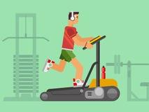 Atleta Running su una pedana mobile Fotografia Stock Libera da Diritti