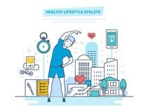 Atleta sano de la forma de vida Usando ejercicios físicos y programas de entrenamiento profesional ilustración del vector