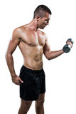 Atleta senza camicia risoluto che risolve con la testa di legno Fotografie Stock Libere da Diritti